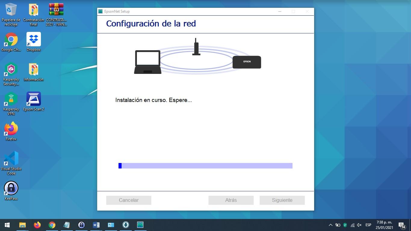 Configuración de red inalámbrica de impresora Epson