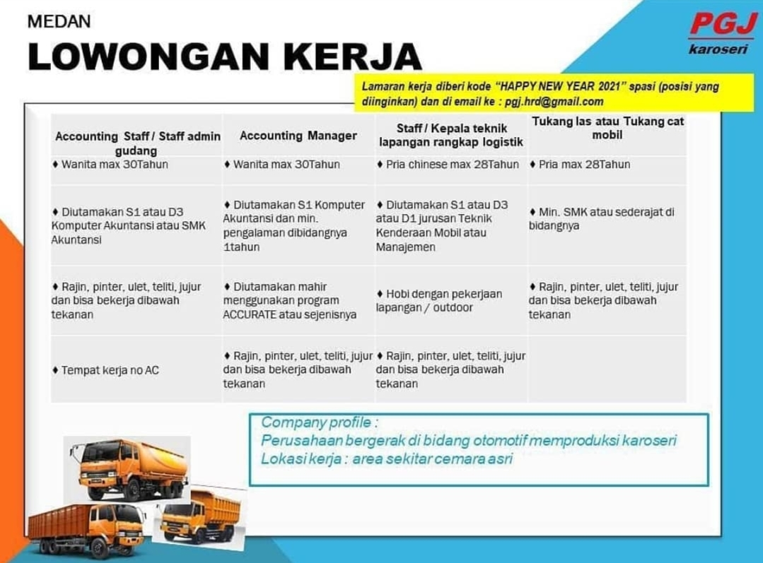 Lowongan Kerja Smk D3 S1 Di Pt Pgj Karoseri Medan Januari 2021 Lowongan Kerja Medan Terbaru Tahun 2021