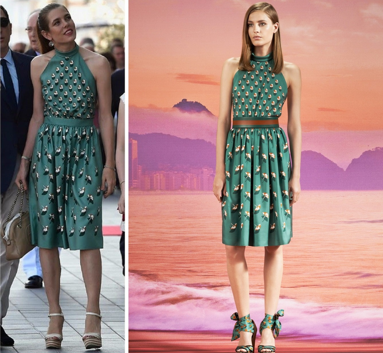 Charlotte Casiraghi wore Gucci Floral Prints Dress ...