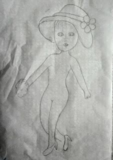 desenho de boneca para colocar vestido de croche