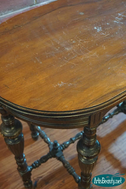 library table makeover using gel stain finish and coastal blue general finishes milk paint