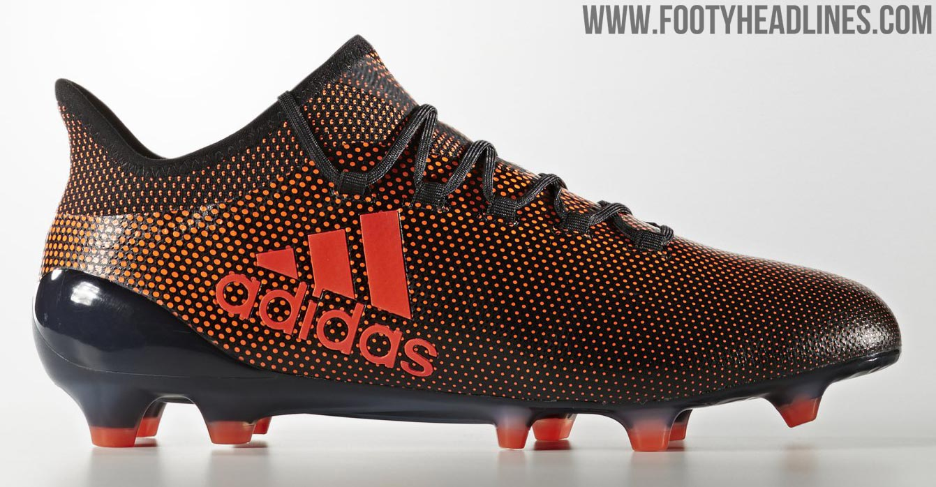 This image shows the Pyro Storm colorway of the Adidas X 17.1 soccer cleats.