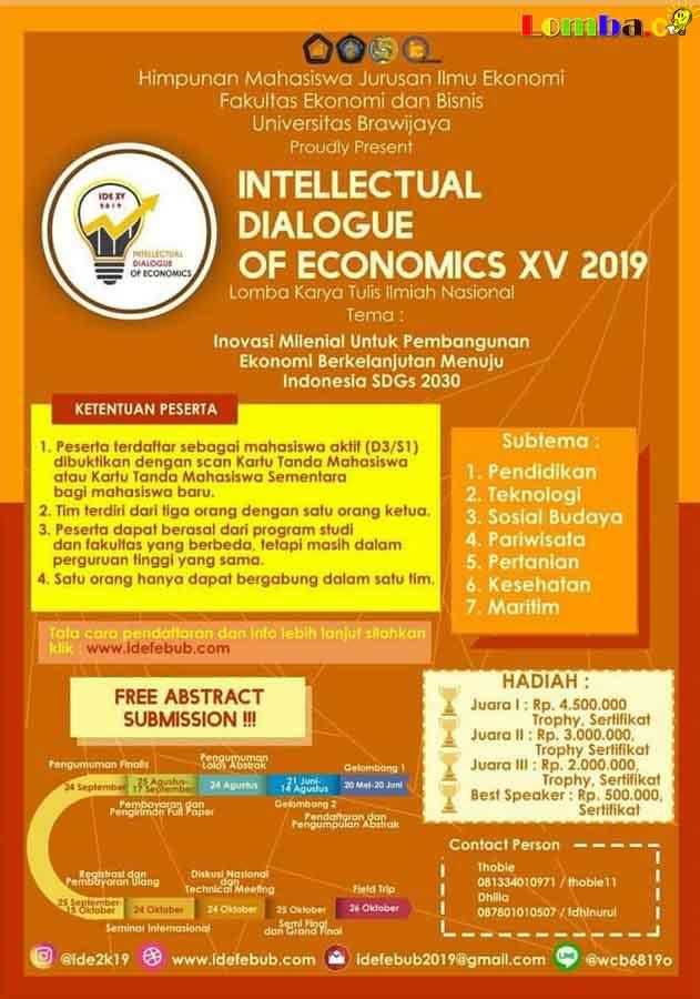 Lomba Karya Tulis Ilmiah Nasional Intellectual of Economics 2019 Untuk Mahasiswa