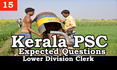 Kerala PSC - Expected/Model Questions for LD Clerk - 15