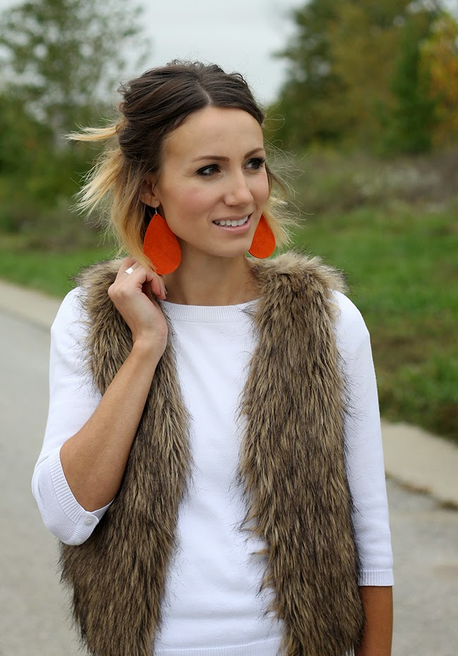 Fur vest, Pumpkin Suede Nickel & Suede earrings