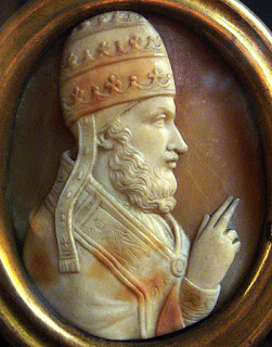 A cameo of Pope Adrian IV at the  Cathedral of Notre-Dame in Paris