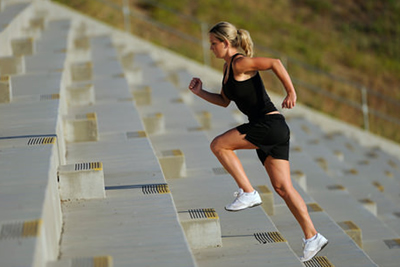 jogging on stairs