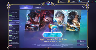 skin mobile legend (ml) gratis 2019 , cara mendapatkan skin permanen mobile legend , free skin mobile legends 2018 , cara mendapatkan hero gratis di mobile legend , skin ml gratis permanen , download skin mobile legend , skin ml info , skin season 11 mobile legend