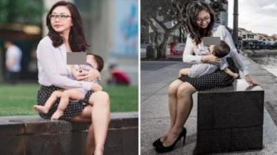 Foto Ibu Cantik Berpakaian Kantor Menyusui di Tempat Umum Ini Bikin Heboh