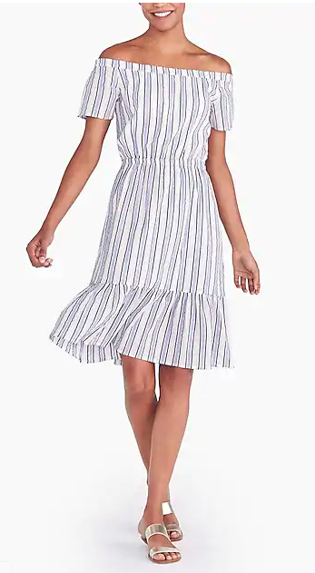 J Crew Striped Off-the-Shoulder Dress