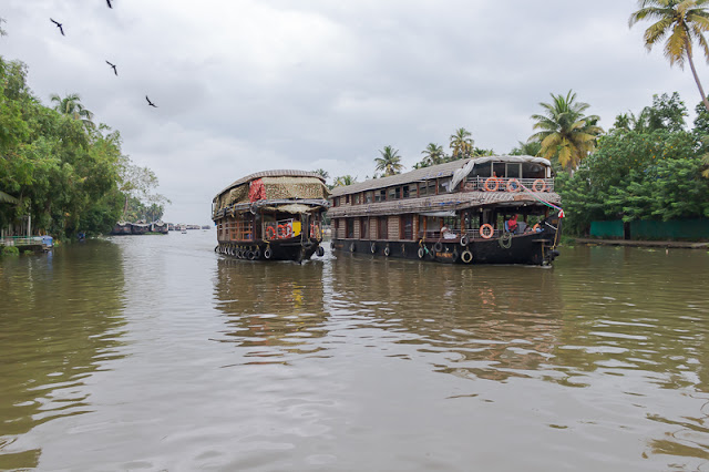 Houseboats on the backwaters in Alleppey Kerala India