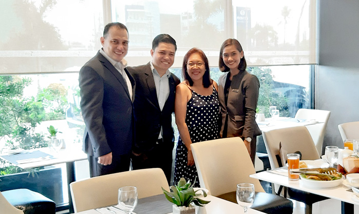 (L-R) Mr. Joseph Eduard S. Del Rosario, Seda Atria Hotel Manager,   Mr. Jansen Sorobia, F&B Manager, yours truly and   Ms. Ida Flores, Seda Atria Communications Officer.