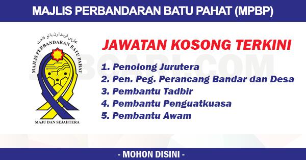 Jawatan Kosong Di Majlis Perbandaran Batu Pahat Pelbagai Gred Jawatan Jobcari Com Jawatan Kosong Terkini
