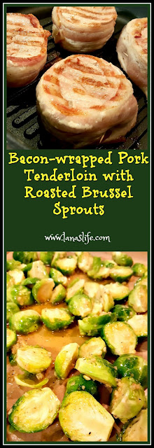 My contribution to the food table was a very easy, inexpensive meal of a pork tenderloin wrapped in bacon and roasted Brussel sprouts.  If you pull the meat out of the freezer the night before you want to eat them, then cooking everything will be a snap for the next night's meal.