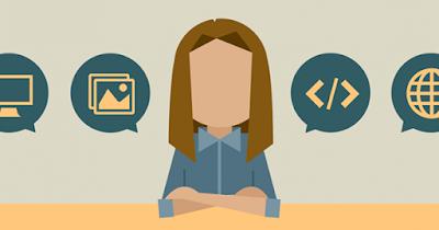 Woman developing web site