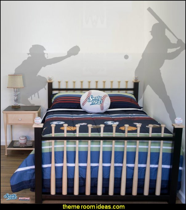 Baseball Beds  baseball bedroom decorating ideas - baseball bedroom decor - boys baseball theme bedrooms - Baseball Room Decor - baseball wall murals - baseball wall decals - Home Run Dugout Bed themed baseball bed - baseball bat headboard