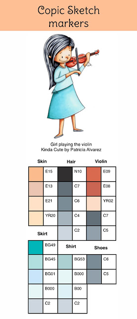 Copic color combination for girl playing the violin digital stamp