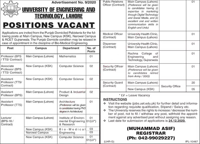 University of Engineering and Technology UET Lahore Jobs
