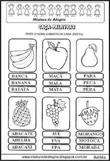 Caça-palavras com nomes de frutas