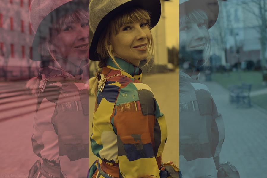 kolorowo, sukienka, rajstopy, fiolet, gamiss, cellbes, mustang, bonprix.pl, zegarek, kapelusz, torebka, e-marilyn.pl,