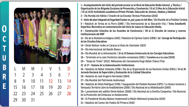 DESCARGAR CALENDARIO ESCOLAR 2018-2019 OCTUBRE