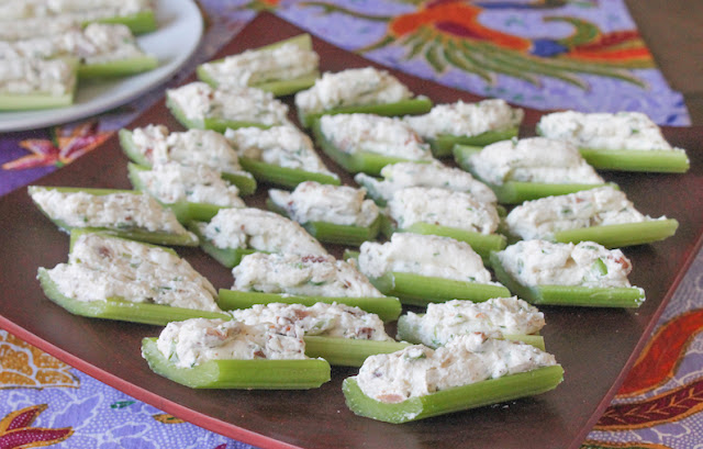 Food Lust People Love: Bacon ranch stuffed celery is an easy appetizer that satisfies our need for crunch! And who doesn't love cream cheese seasoned with loads of bacon, chives, parsley and plenty of black pepper? It makes the perfect filling for celery, not to mention baked potatoes.