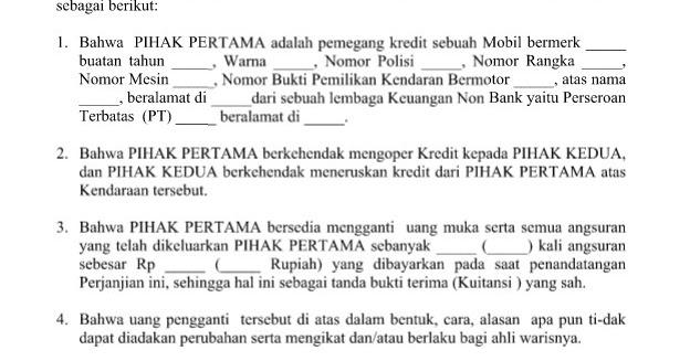 Contoh Surat Kuasa Oper Kredit Rumah Br1m Free