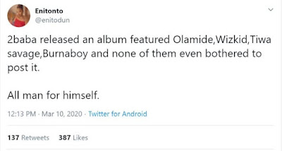 Horrible!!! See What Olamide, Wizkid, Tiwa Savage & Burna Boy Did To 2face Over His New Album