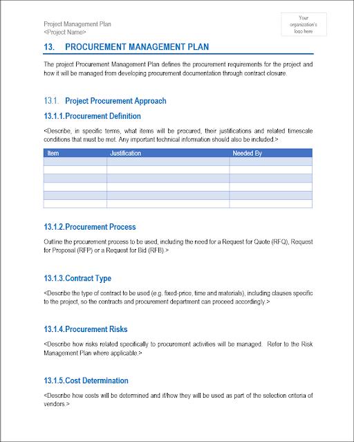 Procurement Management Plan, Procurement Management