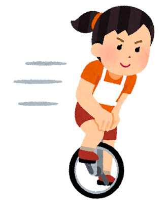一輪車競技のイラスト(トラックレース・女性)