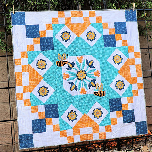Busy Bee Garden Quilt Designed by Carol Swif of Just Let Me Quilt, featuring Basics by Lori Holt for Riley Blake Designs