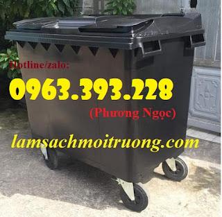 Thùng rác nhựa 660L 4 bánh xe ,xe gom rác rác nhựa HDPE giá rẻ. 36a02ba04062a63cff73