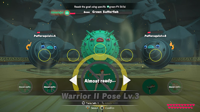 Ring Fit Adventure World 29 Temple of Balance Green Sufferfish Warrior II Pose Puffersquish miniboss fight