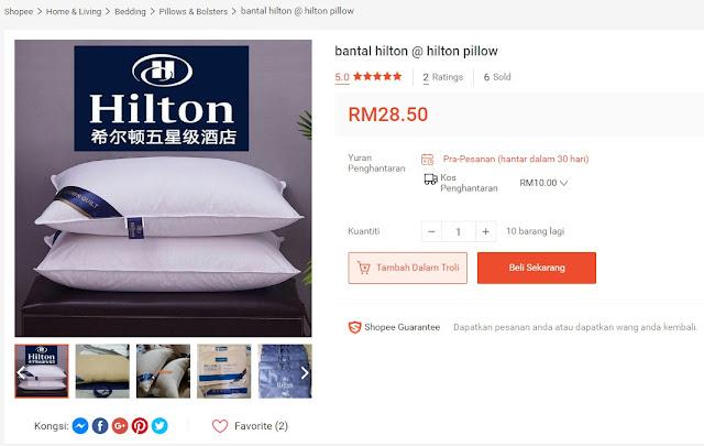 Peniaga B jual Bantal Hotel Hilton di Shopee pada harga RM28.50 seunit