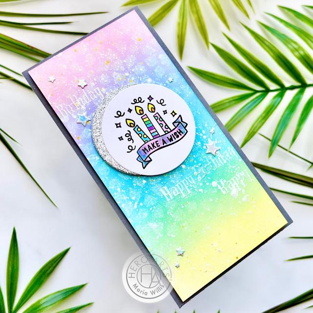 Cardbomb, Maria Willis, Hero Arts,Simon Says Stamp,#STAMPtember,cards, cardmaking,mini slimline cards,happy birthday,ink blending, die cutting, art, color, handmade