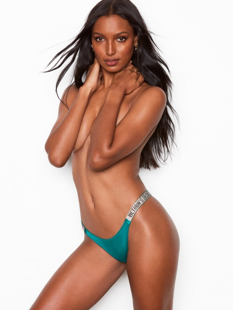 Angel Jasmine Tookes poses in Victoria's Secret Brazilian Panty