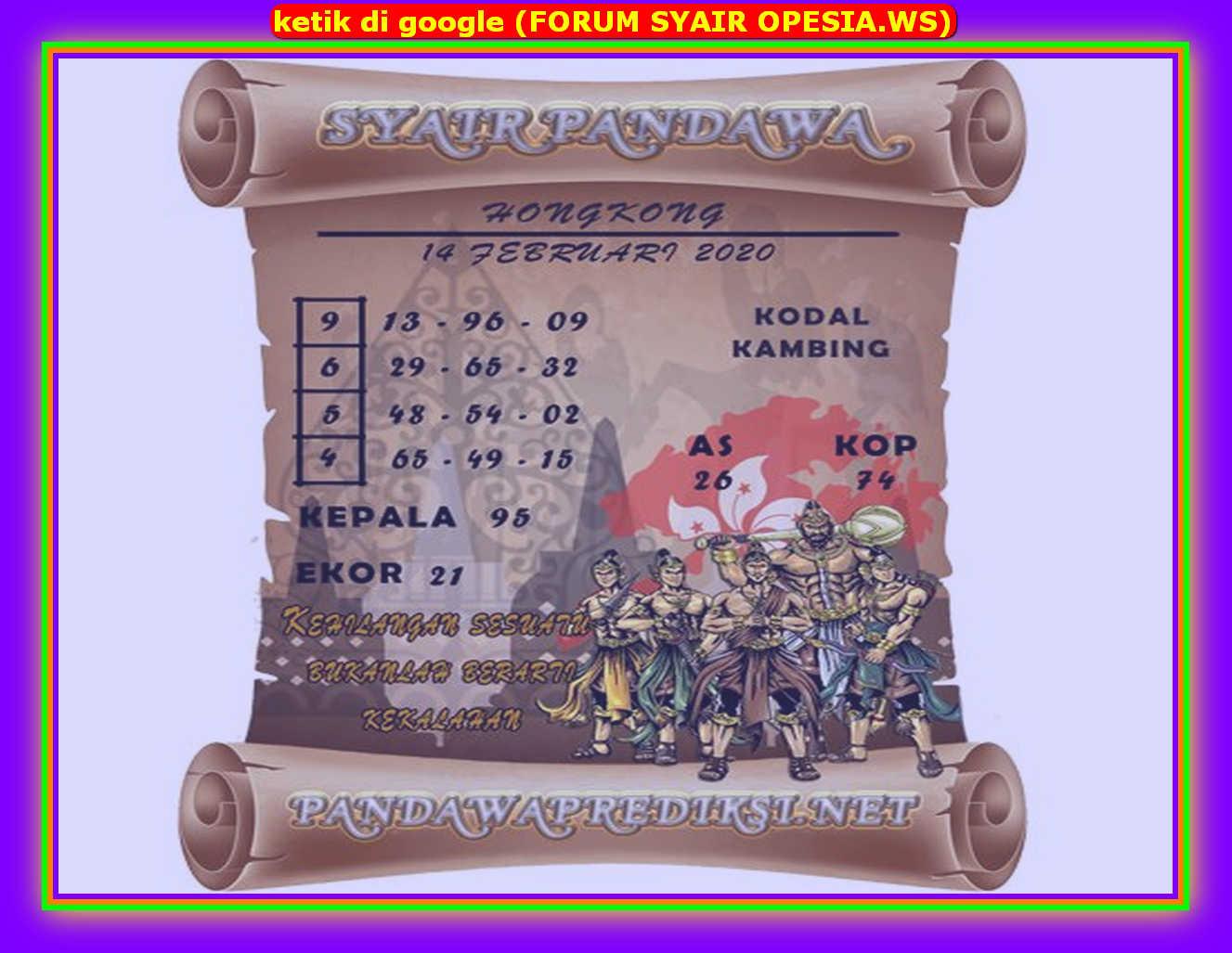 Kode syair Hongkong Jumat 14 Februari 2020 135