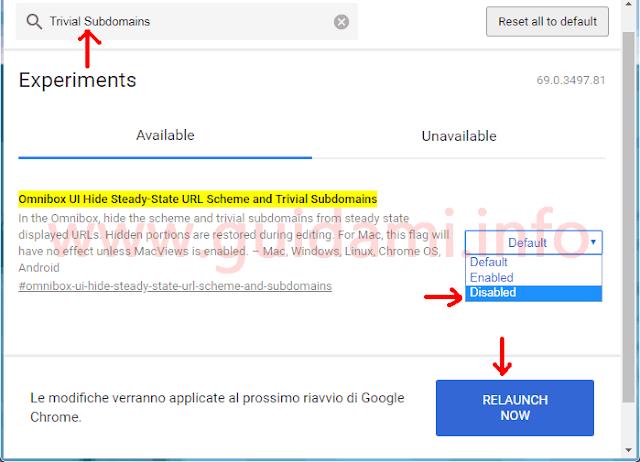 Chrome 69 pagina chrome flags disattivare funzione  di omissione dominio siti nella barra indirizzi