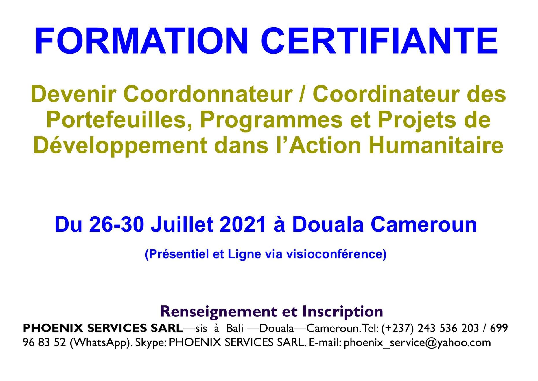 Formation Certifiante: Devenir Coordonnateur des Portefeuilles, Programmes et Projets de Développement dans l'Action Communautaire