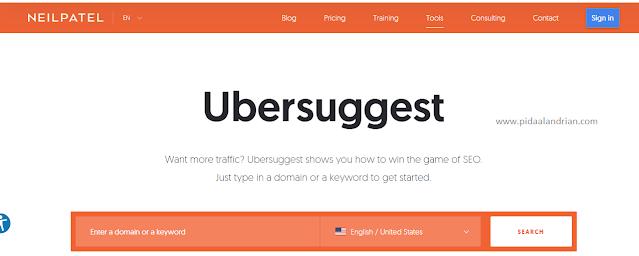 Cari keyword di Ubersuggest