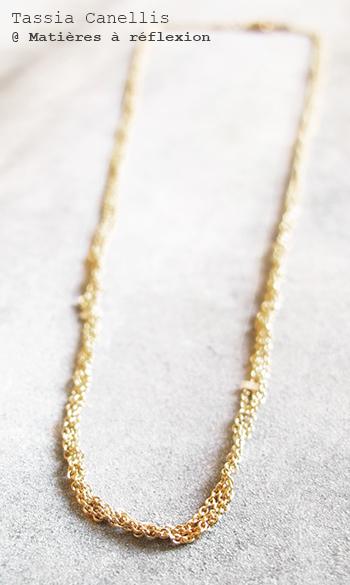 Collier chaînes tressées Tassia Canellis bijoux dorés