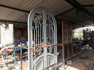 pembuatan, Pintu, Head, Besi, Tempa, Klasik, Mewah
