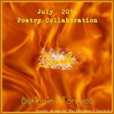 Monthly Poetry Group, July's theme: Sizzle | Graphic by Jules of The Bergham Chronicles | www.BakingInATornado.com | #poetry #poems