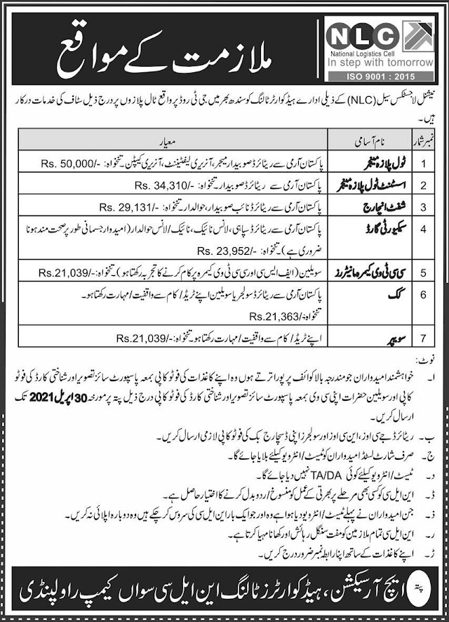 National Logistics Cell NLC Jobs 2021 For Manager, Assistant Toll Plaza Manager, Shift Incharge & more