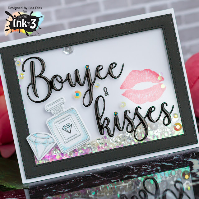 Boujee and Kisses Shaker Card by Ink On 3 by ilovedoingallthingscrafty.com