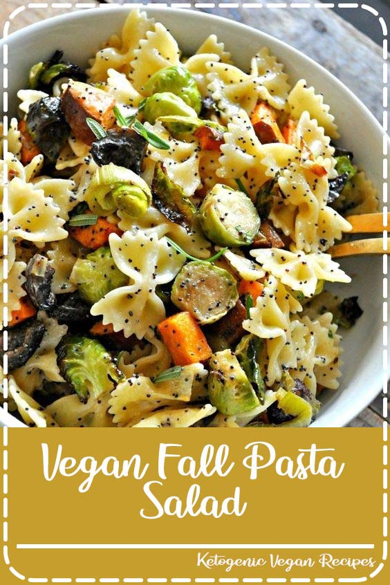 tossed with pasta and the most amazing vegan creamy poppy seed dressing Vegan Fall Pasta Salad
