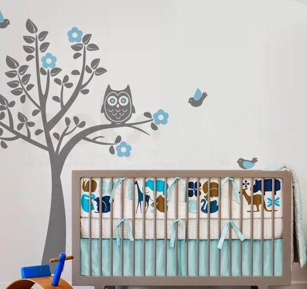 dormitorio bebé turquesa gris