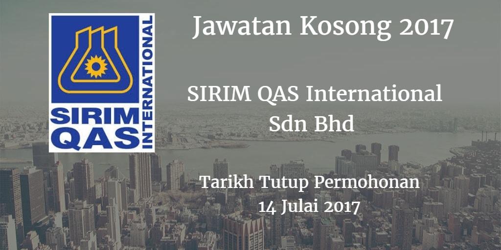 Jawatan Kosong SIRIM QAS International Sdn Bhd 14 Julai 2017