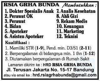 Lowongan Kerja Rumah Sakit RSIA GRHA BUNDA