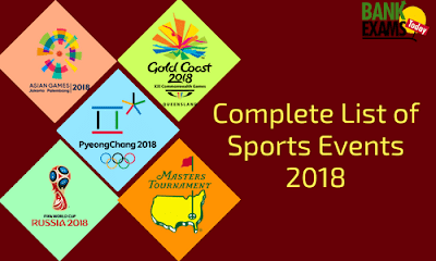 Complete List of Sports Events- 2018